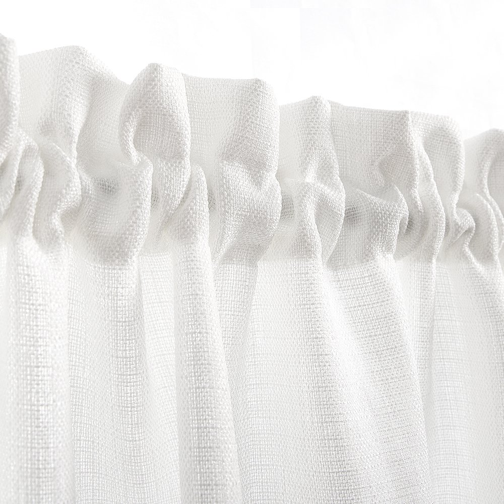 24 inch White Kitchen Tiers Semi Sheer Café Curtains Rod Pocket Casual Weave Textured Half Window Curtains for Bathroom 2 Panels by jinchan (Image #2)