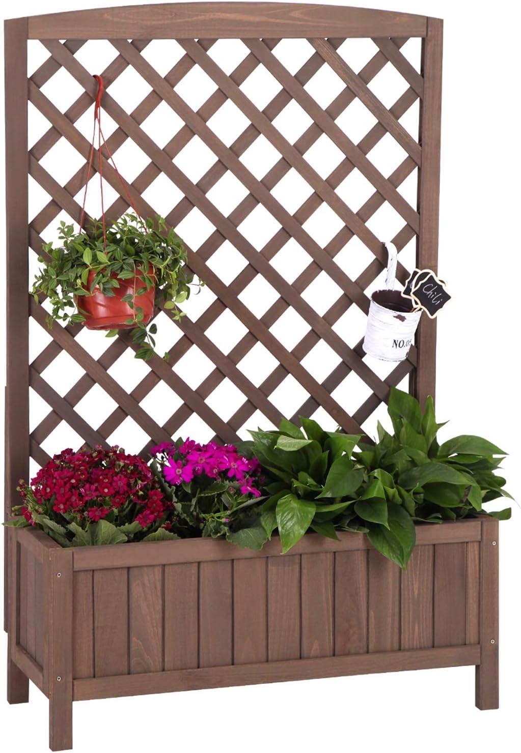 Raised Garden Bed Outdoor Planter Box with Trellis for Flower Standing Vertical Lattice Panels for Vine 31
