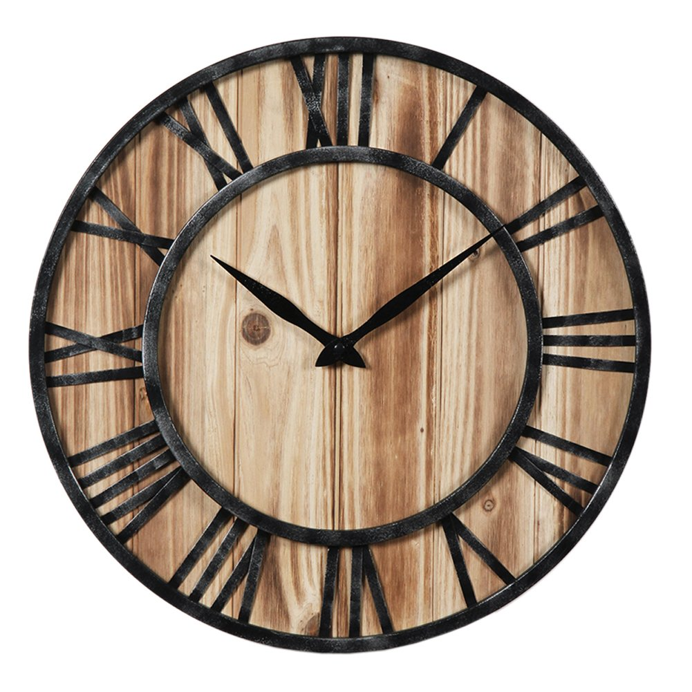 Aero Snail 16-inch Dia Rustic Vintage Black Metal & Solid Wood Silent Decorative Wall Clock
