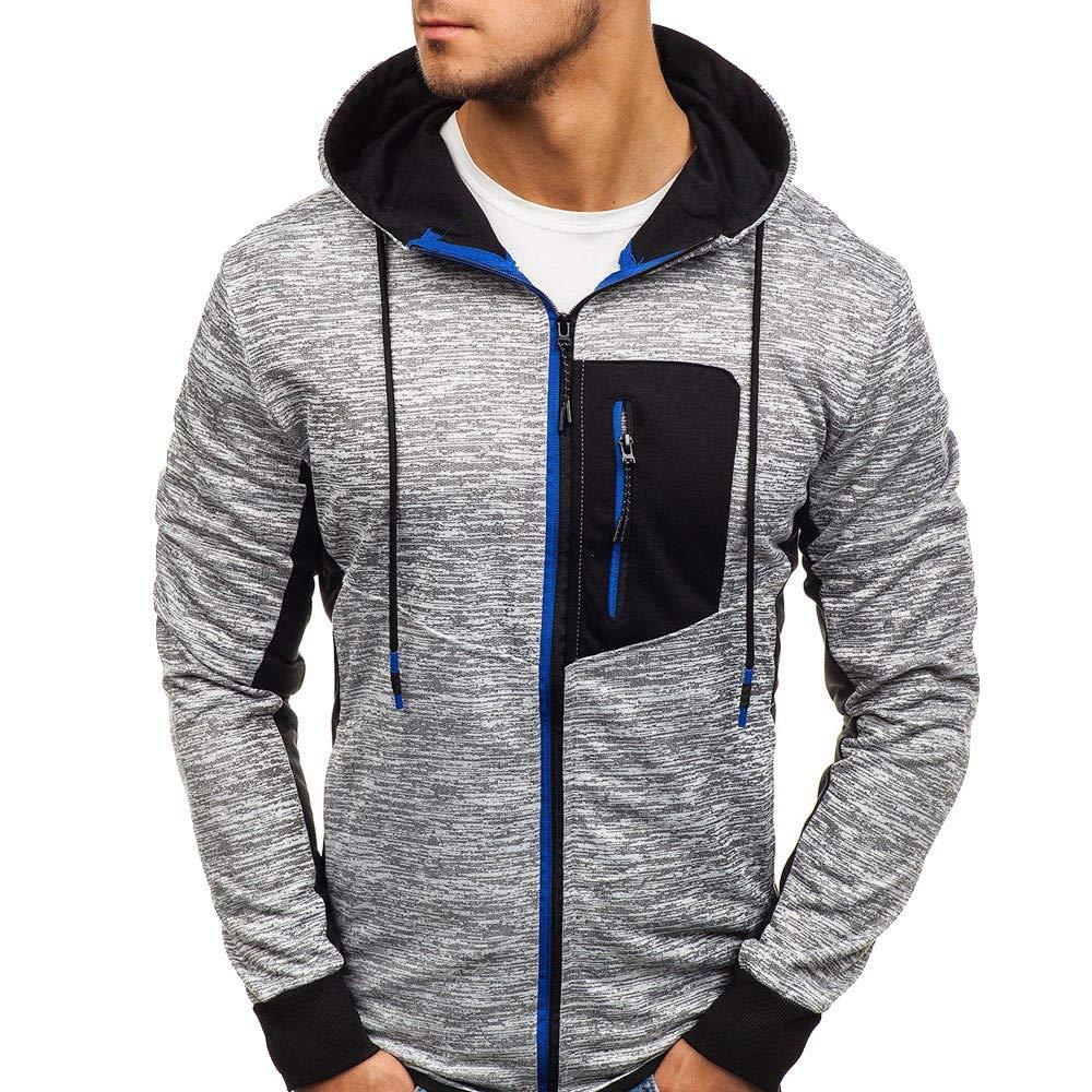 kaifongfu Mens Autumn Winter Zip Jacket with Pocket Slim Fit Coat(Blue,XL)