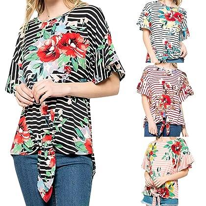 6f7b3626f9 vermers New Women Tops Ladies Stripe Floral Bow Printing T-Shirt Short  Sleeve Blouse (S, Black)