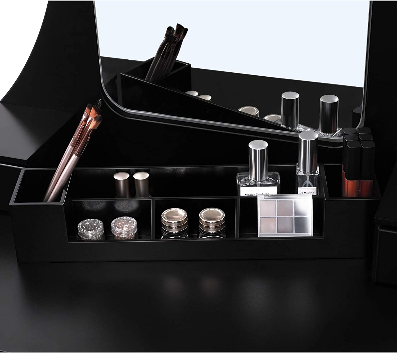 5 Tiroirs et Une Bo/îte de Stockage Mobile Tabouret rembourr/é Noir RDT25BK VASAGLE Ensemble de Coiffeuse Coiffeuse avec Grand Miroir sans Cadre pour Le Maquillage