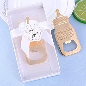 Yuokwer 24pcs Bottle Opener Baby Shower Favor for Guest,Rose Gold Feeding Bottle Opener Wedding Favors Baby Shower Giveaways Gift to Guest, Party Favors Gift & Party Decorations Supplies (White, 24)