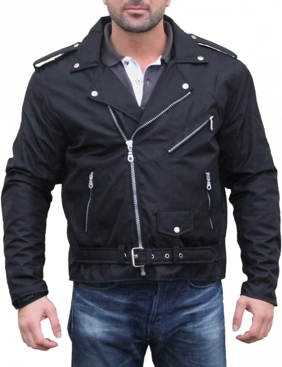 Gr/ö/ße:XL Chopper Motorradjacke Rockabilly Rockerjacke Brando Motorrad Textilien Jacke German Wear