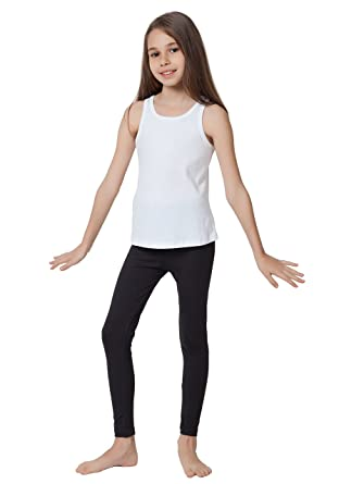 1b929c538efdbe CAOMP Girl's Ankle Length Leggings, Certified Organic Cotton Spandex,  School Play