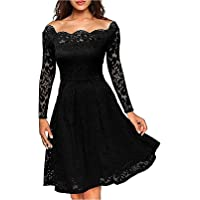 TYFeng Women's Vintage Floral Lace Elegant Cocktail Party Swing Dress with Long Sleeve
