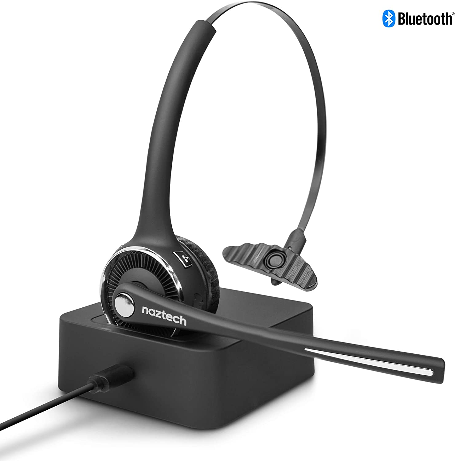 Naztech N980 BT Wireless Headset w/Charging Base, Noise Cancelling Mic, Multipoint Device Connection [Wireless Telephone Headset w/USB, Work-from-Home Connection]