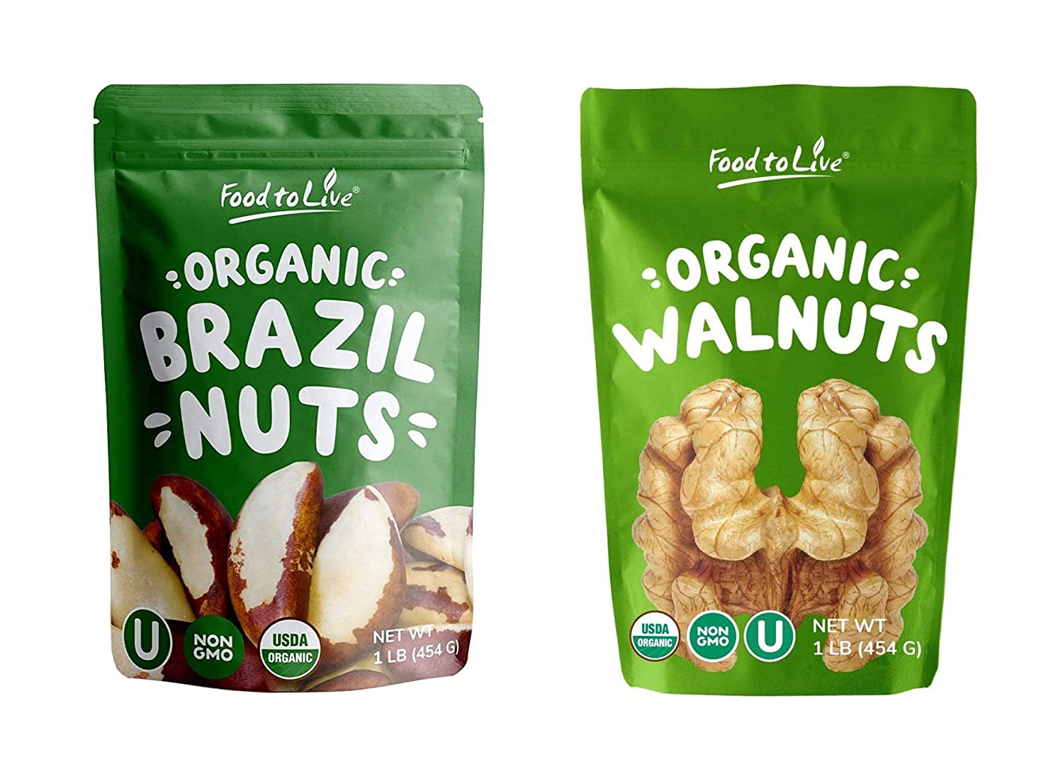 Organic Nuts Bundle - Organic Brazil Nuts, 1 Pound and Organic Walnuts, 1 Pound - Non-GMO, Kosher, Raw, Vegan