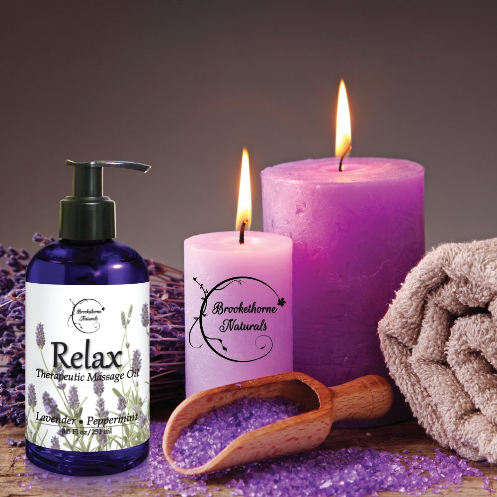 Relax Therapeutic Body Massage Oil - With Best Essential Oils for Sore Muscles & Stiffness – Lavender, Peppermint & Marjoram - All Natural - With Sweet Almond, Grapeseed & Jojoba Oil 8.5oz by Brookethorne Naturals (Image #4)