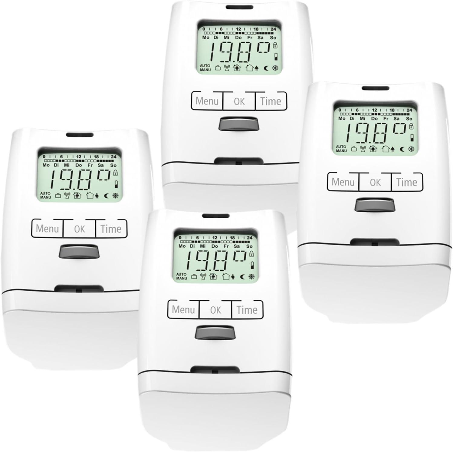 Conjunto de 4 programable para radiadores-termostato (ahorro de energía) HT 2000 modelo silencioso fabricado en Alemania, para 4 habitaciones, versión Premium con tuerca de metal estable