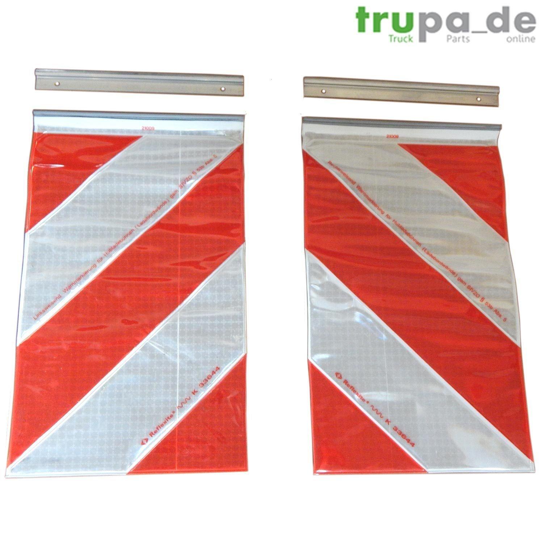 2 x Bandera de advertencia de 250 x 400 mm de Orafol, elevador trasero, plataforma elevadora, marcado izquierda + derecha Trupa