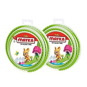Mayka Toy Block Tape - 2 Stud - Light Green - 6 Feet - 2 Pack (Compatible with Lego)