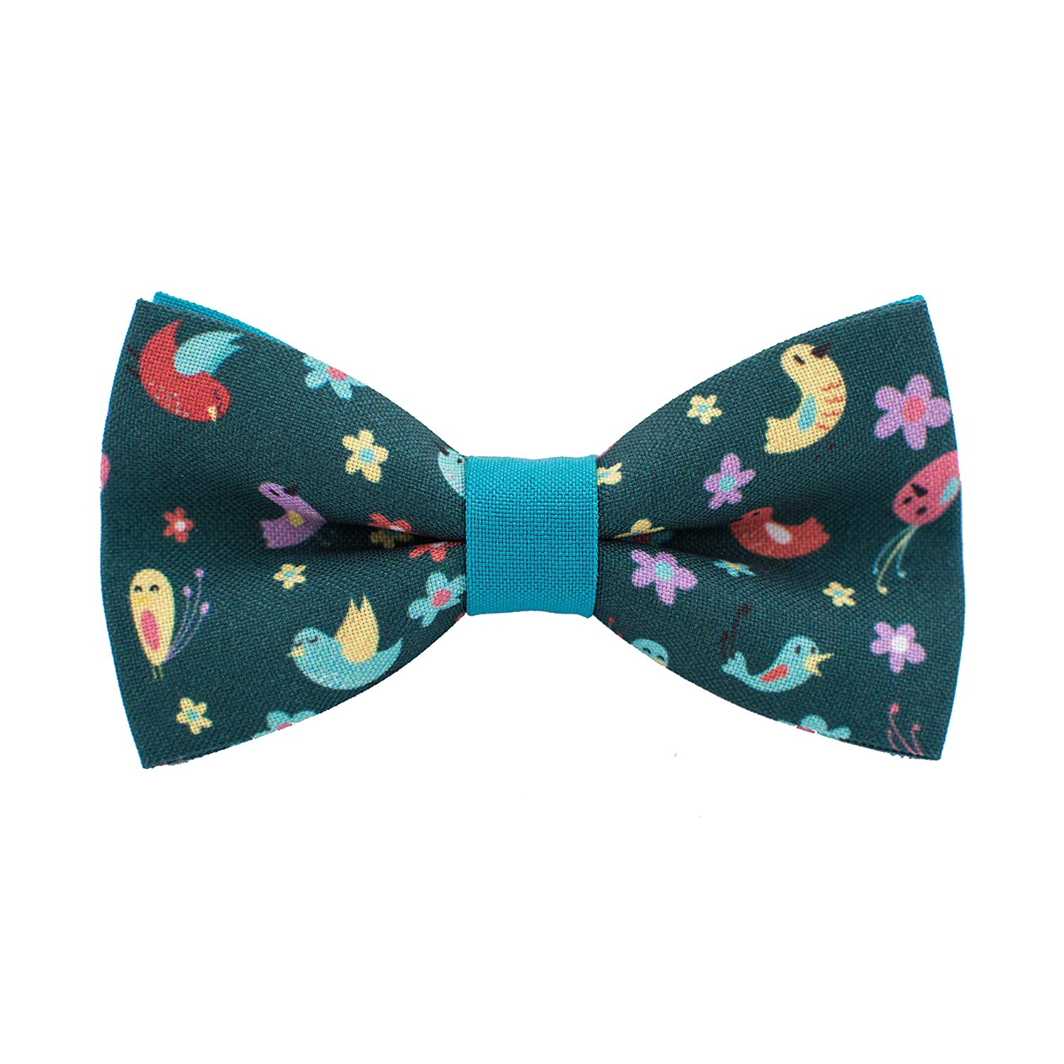 Bow Tie House Birds on field of flowers pattern bow tie unisex pre-tied shape 09283