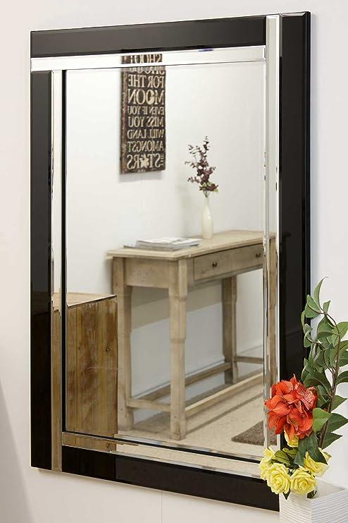 Piccolo Nero Vetro doppio bordo moderno specchio, stile veneziano ...