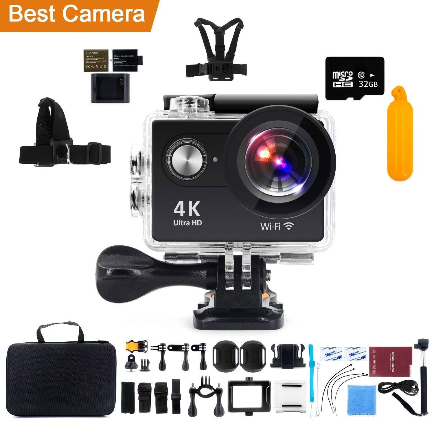 Action Camera 4K WiFi with 32G Micro SD Card, Kebo 2.0'' LCD Screen Ultra HD Waterproof Sport Camera with 170 Wide-Angle Lens, Full Accessories Kits and Waterproof Case - Black