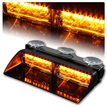 by Discoball/® Amber 16 LED Emergency Beacon Hazard Warning Windshield LED Strobe Light for 12V Vehicle Car Truck SUV Interior Roof Dash Windshield with Suction Cups