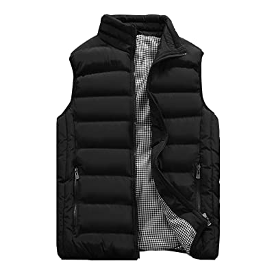 Vcansion Men's Outdoor Casual Stand Collar Padded Vest Coats: Clothing
