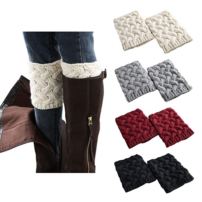 4 Pairs Short Women Crochet Boot Cuffs Winter Cable Knit Leg Warmers