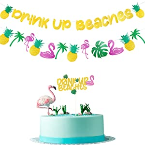 Gold Glittery Hawaii Drink Up Beaches Banner Flamingo Cake Topper Rainforest Coconut Tree Pineapple Party Supplies Luau Summer Beach Hawaiian Tiki Day Party Decorations