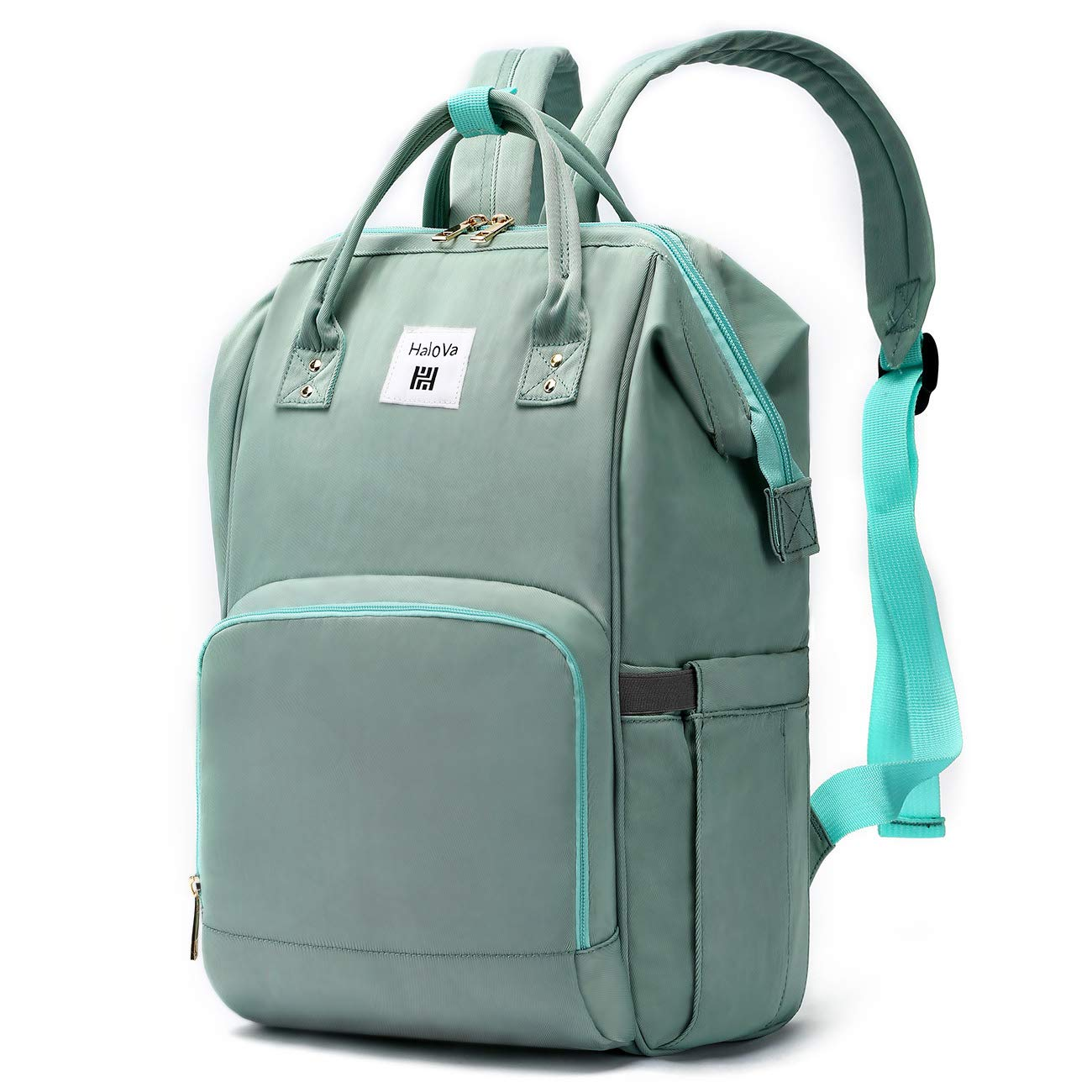 HaloVa Diaper Backpack, Mommy Backpack, Multi-Function Waterproof Travel Backpack Nappy Bags for Baby Care, Large Capacity, Comfortable and Durable, Mint Green