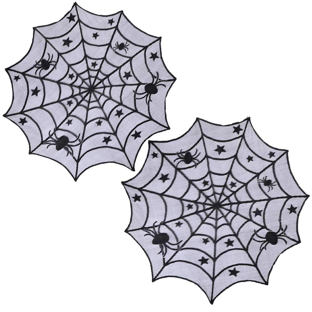 Pack of 2 40'' Multi-Functional Black Lace Halloween Spider Net Web Table Cloth Window Decor Cover Halloween Party Decor Window Wall