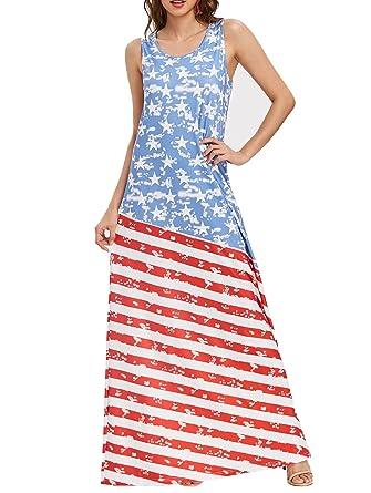 dfca7d6e1f4 Ytwysj Women Summer 4th July Vintage American Flag Print Patriotic  Strapless Sleevess Tank Long Maxi Dress at Amazon Women s Clothing store
