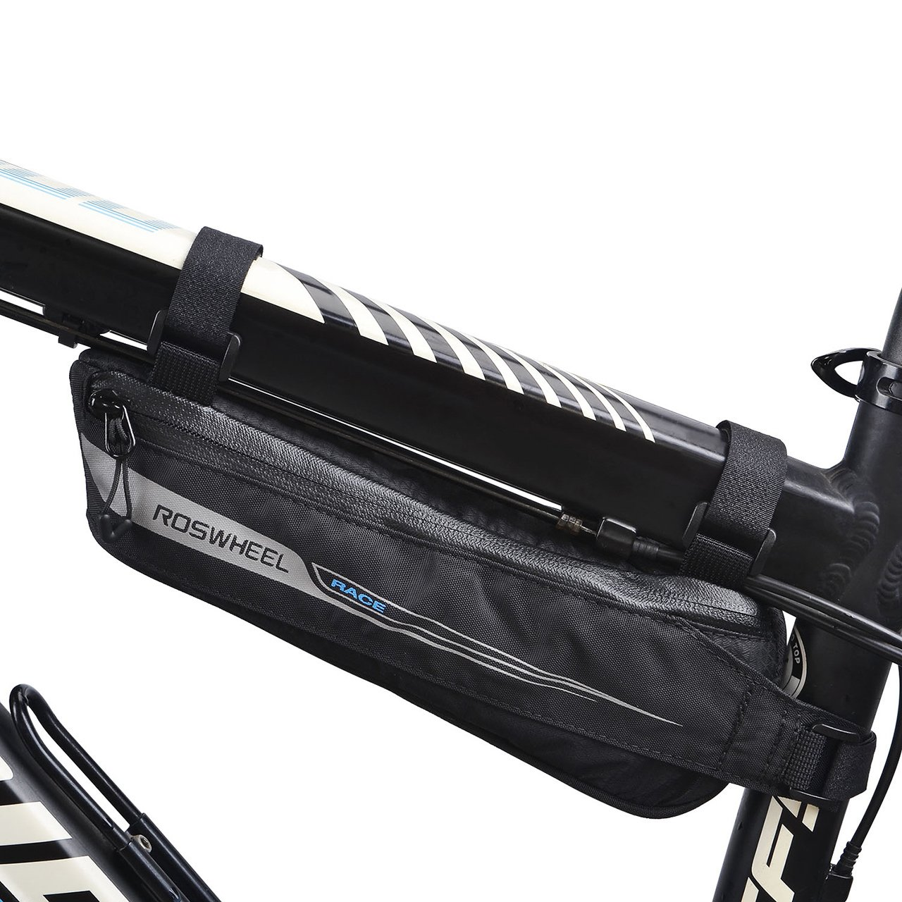 FlexDin Bicycle Triangle Frame Tool Bag Aerodynamic Design for Road Racing/Touring, Cycling Under Seat Road Bike Top Tube Pack Pouch Waterproof 0.6L Black