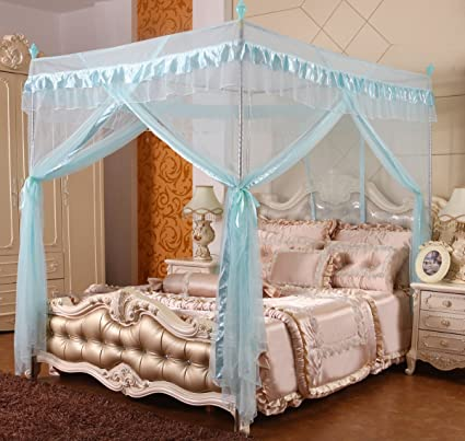 Mengersi 4 Corners Post Bed Canopy Curtains Net for Girls Boys Bed (Twin,  Sky Blue)