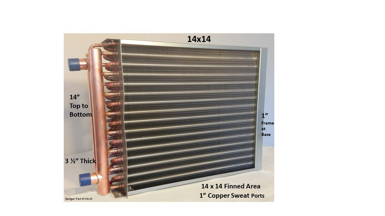 Water to Air Heat Exchanger 14x14~1'' Copper Ports w/EZ Install Front Flange