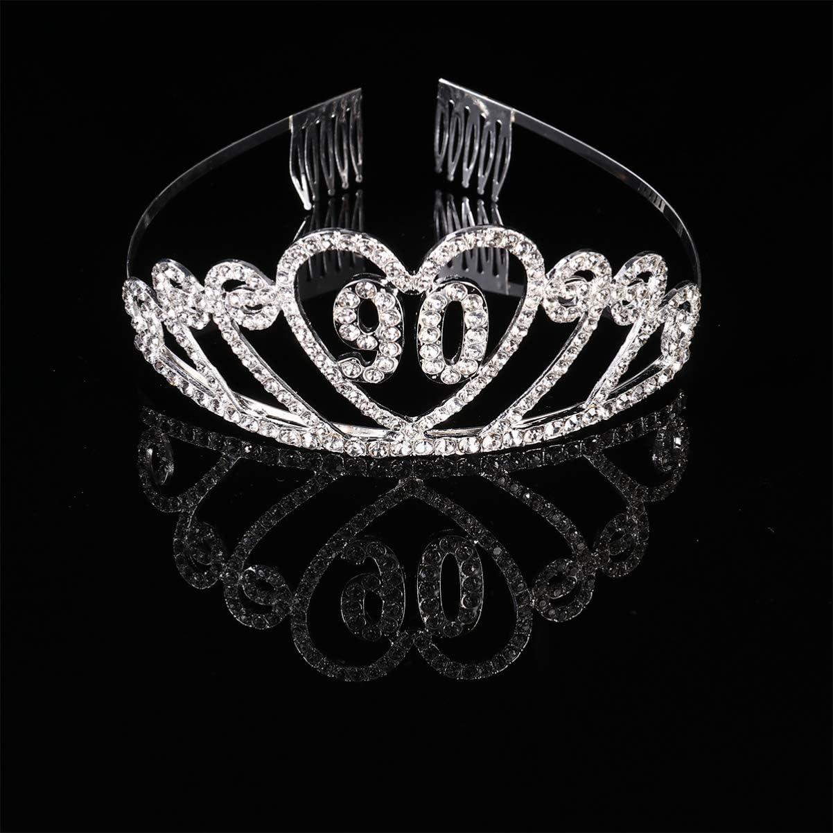 Beaupretty Tiare Couronne Anniversaire 90 Ans en Strass Cristal Coeur Diad/ème Princesse avec Peigne Bandeaux Mariage Bijoux pour Femmes Argent