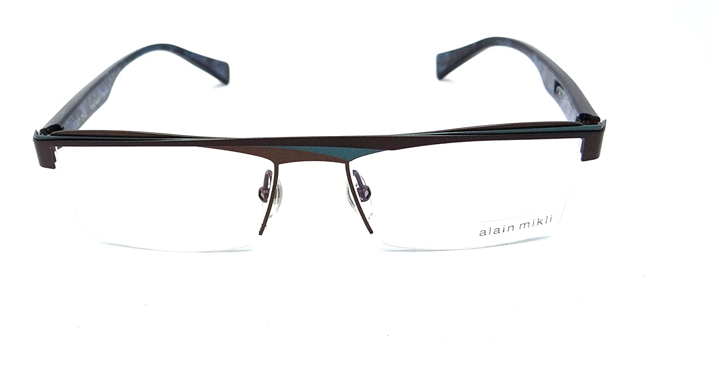 759e019e05a2 Alain Mikli Rx Eyeglasses Frames A01119 M00E 53x16 Chocolate   Turquoise  France  Amazon.co.uk  Clothing