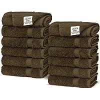 Luxury Hotel & SPA Towel 100% Genuine Turkish Cotton (Wash Cloth - Set of 12, Cocoa)