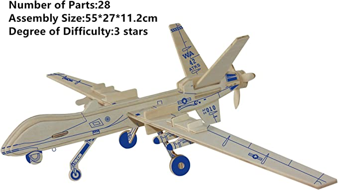 Science Project Gift For Boy Teaching Toy Birthday Gift Kids Toy Plane Science Fair Simple Solent Mk4 Plane 3D Wooden Puzzle Toy