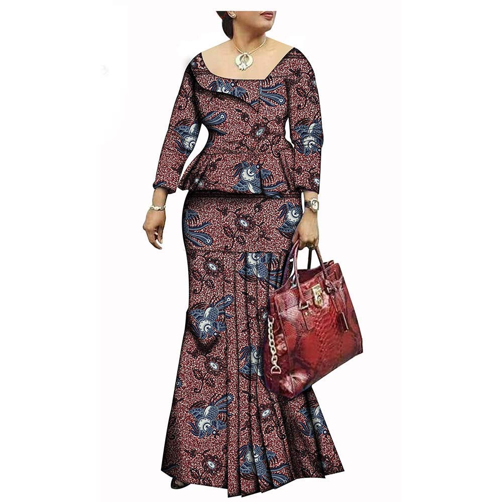 442 African Style 1Piece Long Maxi Dress for Lady Full Sleeve Pure Cotton Ankara Print Dashiki