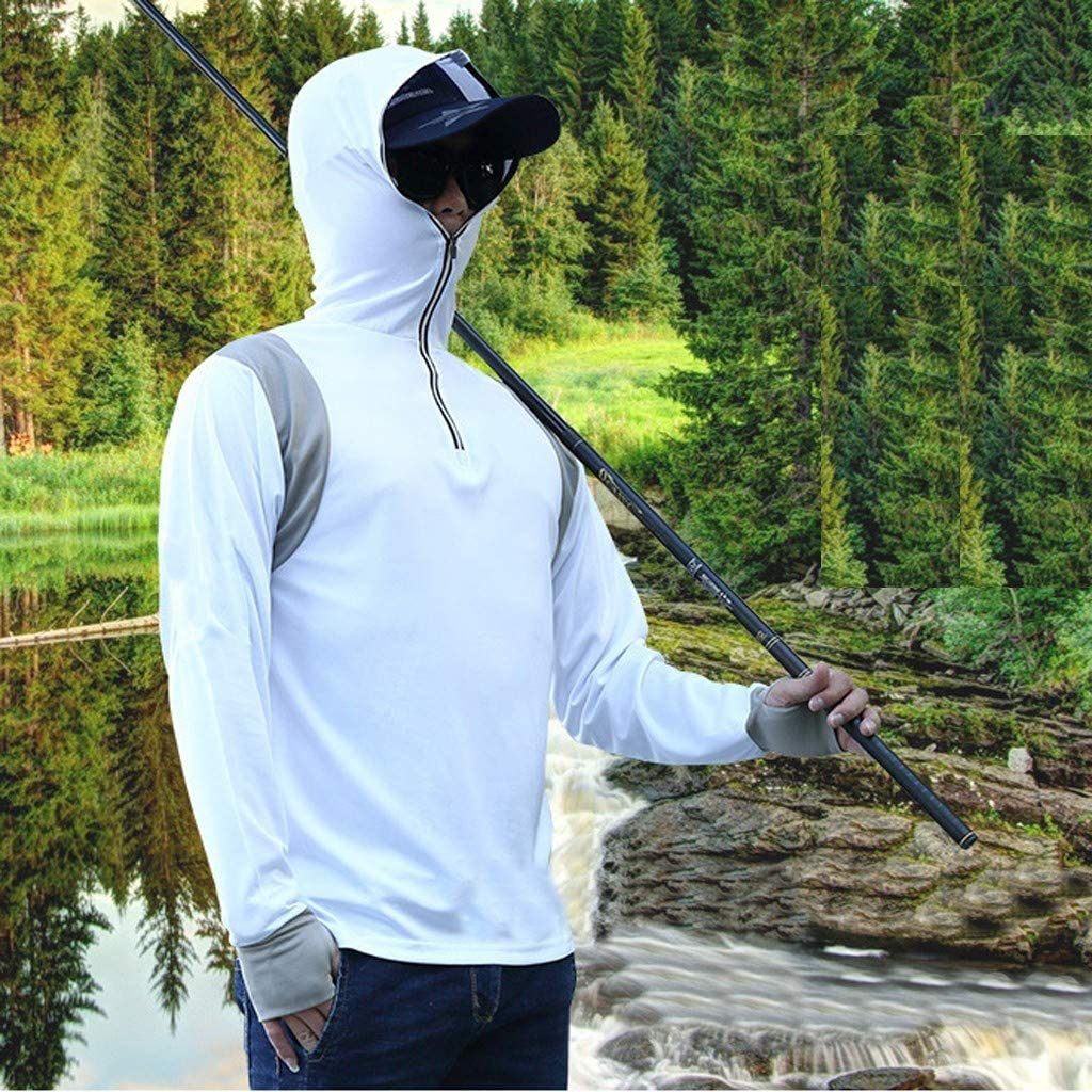 Casual Breathable Sports Fitness Long Sleeve Sunscreen Fishing Suit Hooded Zipper Tops Mens Running Sweatshirts