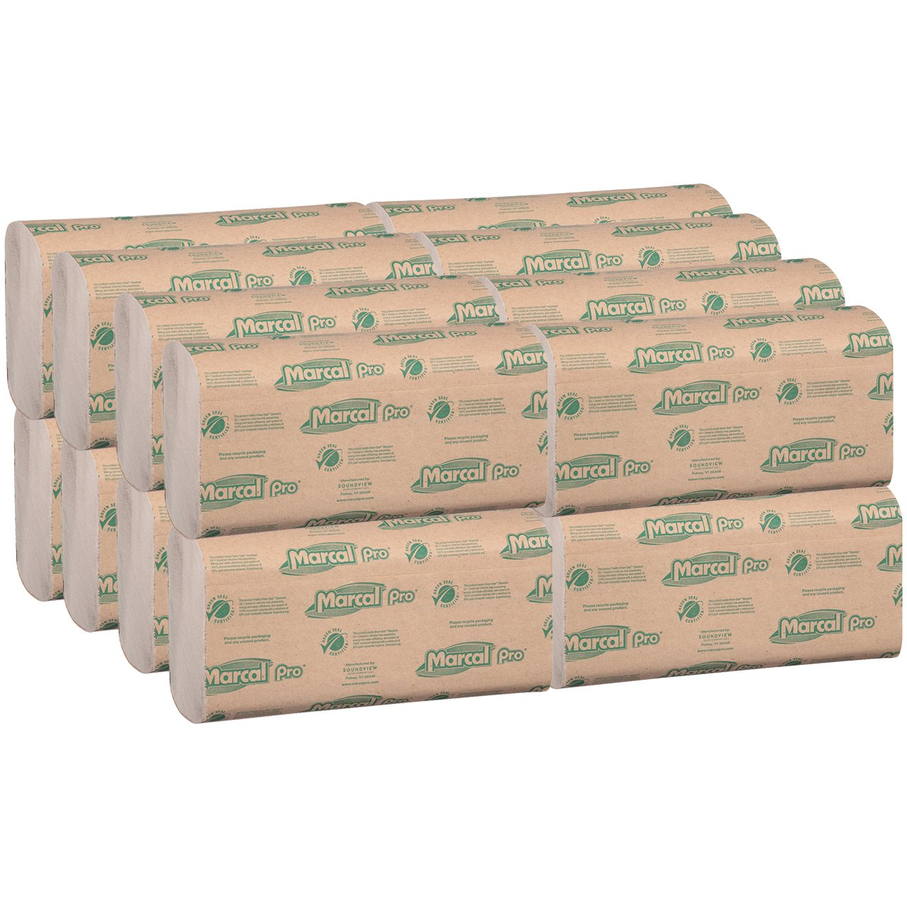 Marcal Pro Multi-Fold Paper Towels, 100% Recycled, 1-Ply, Natural Color Hand Towels, 250 Per Pack, 16 Packs per Case for 4000 Total Green Seal Certified ...