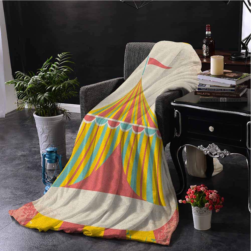 Circus Bedding Fleece Blanket Queen Size Circus Tent Illustration with Grunge Look Vintage Entertainment Carnival Theme Art Soft Fuzzy Blanket for Couch Bed W60 x L91 Inch Multicolor