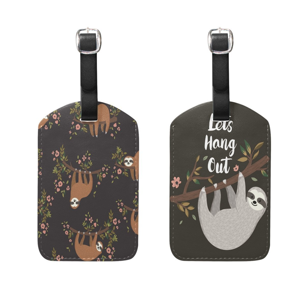 ALAZA Funny Sloth Luggage Tag Baggage Suitcase Bag Leather Travel Accessories 2PCS
