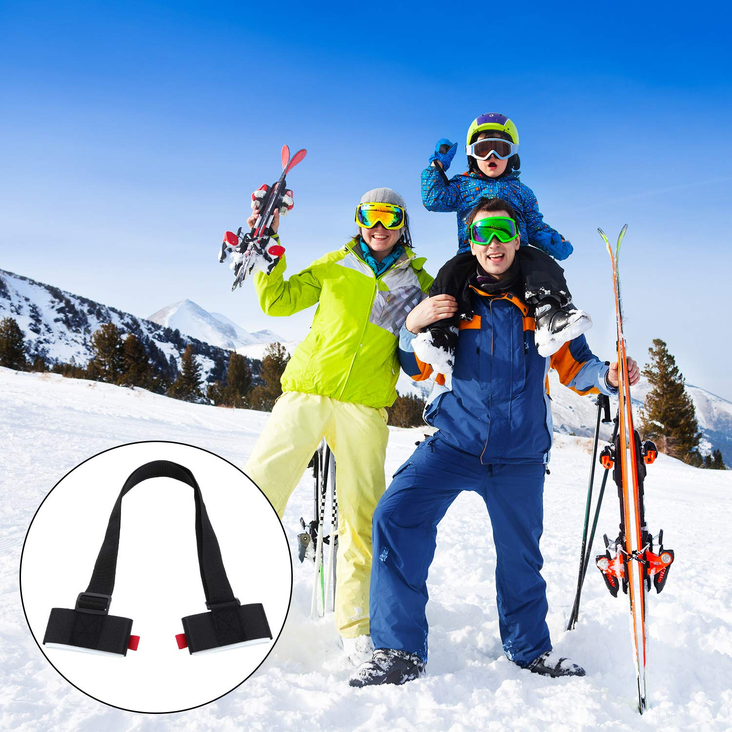 Chuangdi 2 Pack Ski Strap and Pole Carrier Adjustable Shoulder Carrier Strap Backpack Alpine Touring Ski Downhill Ski Bindings with Cushioned Fastener Tape Strap Loop for Easily Carry