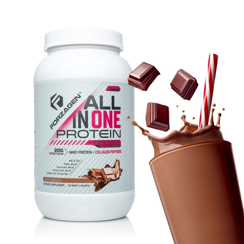 Forzagen Protein Powder for Women - Protein Shake With Collagen Powder for Women | High Protein Snacks And Collagen Supplement | Folic Acid | Hyaluronic Acid | Folic Acid | MCT oil | Collagen Peptides by Forzagen