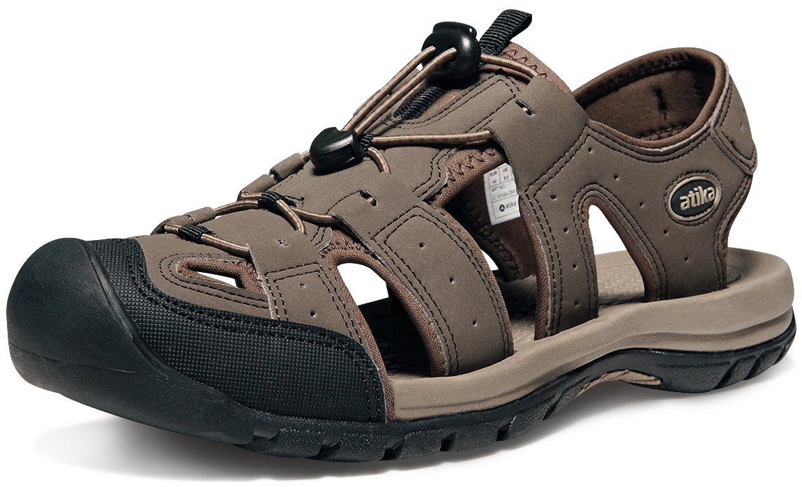 ATIKA AT-M108-CBN_Men 9 D(M) Men's Sports Sandals Trail Outdoor Water Shoes 3Layer Toecap M108