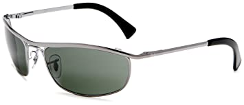 2de732bc5f Image Unavailable. Image not available for. Colour  Ray-Ban Men s Olympian  RB3119-004-59 Silver Rectangle Sunglasses