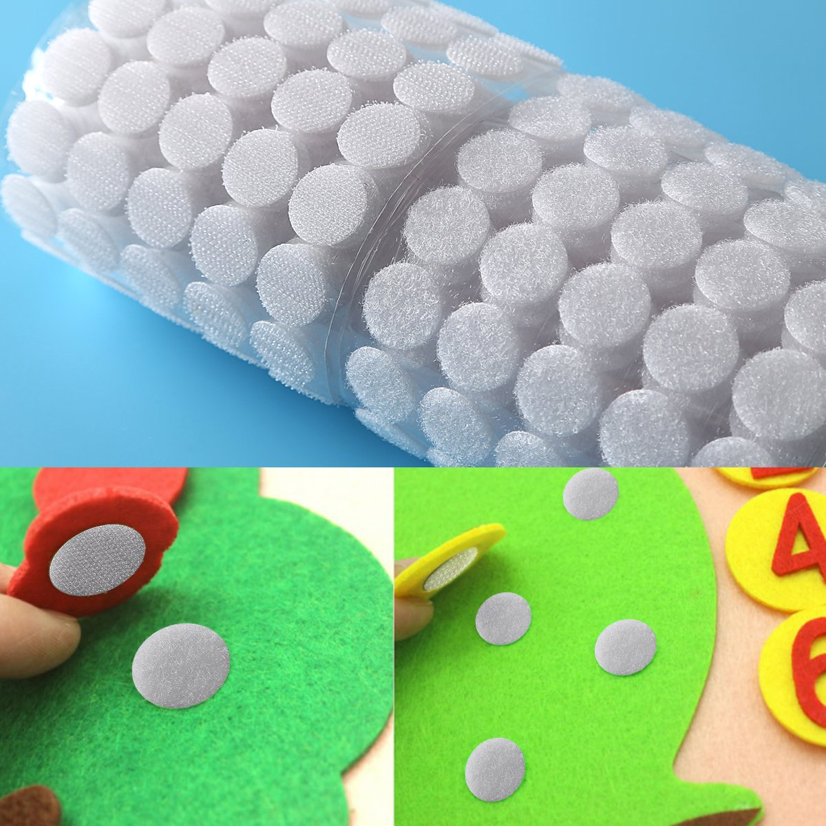 Sticky Back Coins Clear Dots Hook and Loop Self Adhesive Dot Tapes 3/4'' Diameter 1000pcs(500 Pair) - White by Alldio (Image #6)