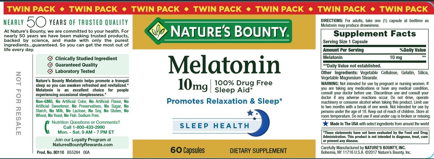 Amazon.com: Natures Bounty Melatonin Pills and Dietary Supplement, Promotes Relaxation and Sleep Aid, 10mg, 60 Capsules, 2 Pack: Health & Personal Care