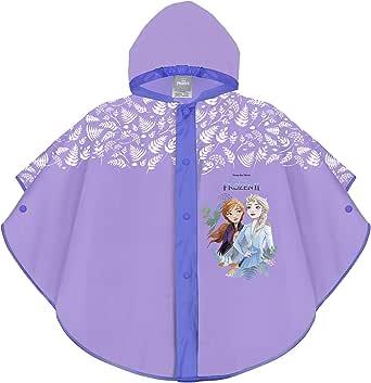 PERLETTI Chubasquero Niñas 3 4 5 6 Años Frozen 2 Hermanas Elsa Anna - Poncho Impermeable Infantes Disney Princesas Reino del Hielo - Ropa de Agua Niña con Capucha Botones a Presión