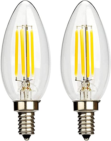 LED Candelabra Light Bulb 4W E12 Teardrop Light Bulbs Dimmable 4500k Cool White Filament Candle Bulb for Indoor Lamp Chandelier Ceiling Fan Outdoor Porch 6-Pack by LUXON ZH Electronic Co Ltd.