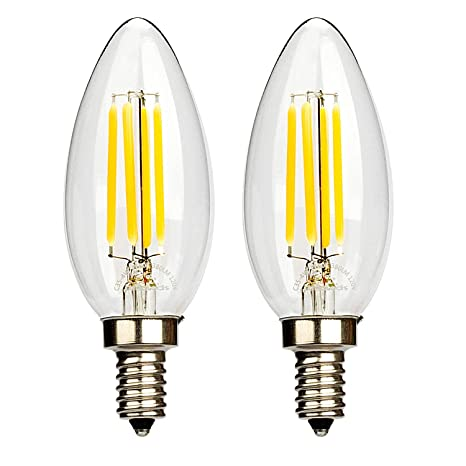 Leadleds 4W LED Filament Candelabra Bulb, E12 base 2700K Warm White ...