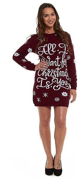 6facf8b42b24 Women Ladies Christmas Tunic Jumper Novelty Xmas Knitted Retro Sweater Size  8-26 (UK