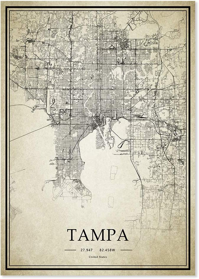 Tampa Florida USA 20X28 inch Art City Map Vintage Painting Home Decor
