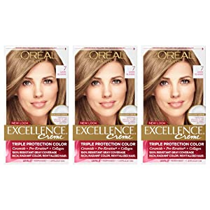 L'Oreal Paris Excellence Creme Permanent Hair Color, 100% Gray Coverage Hair Dye, Pack of 3
